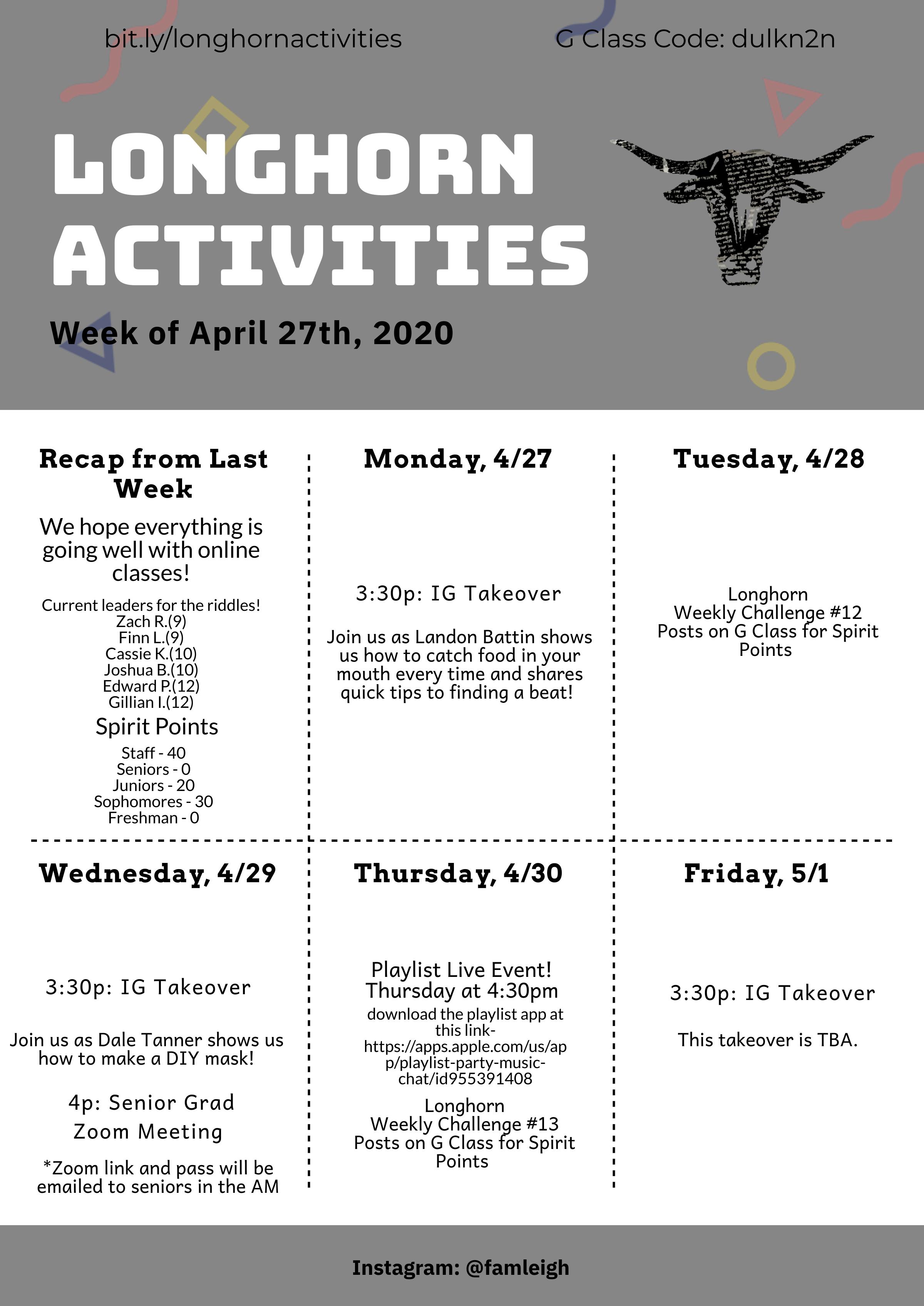 Week of APR 27