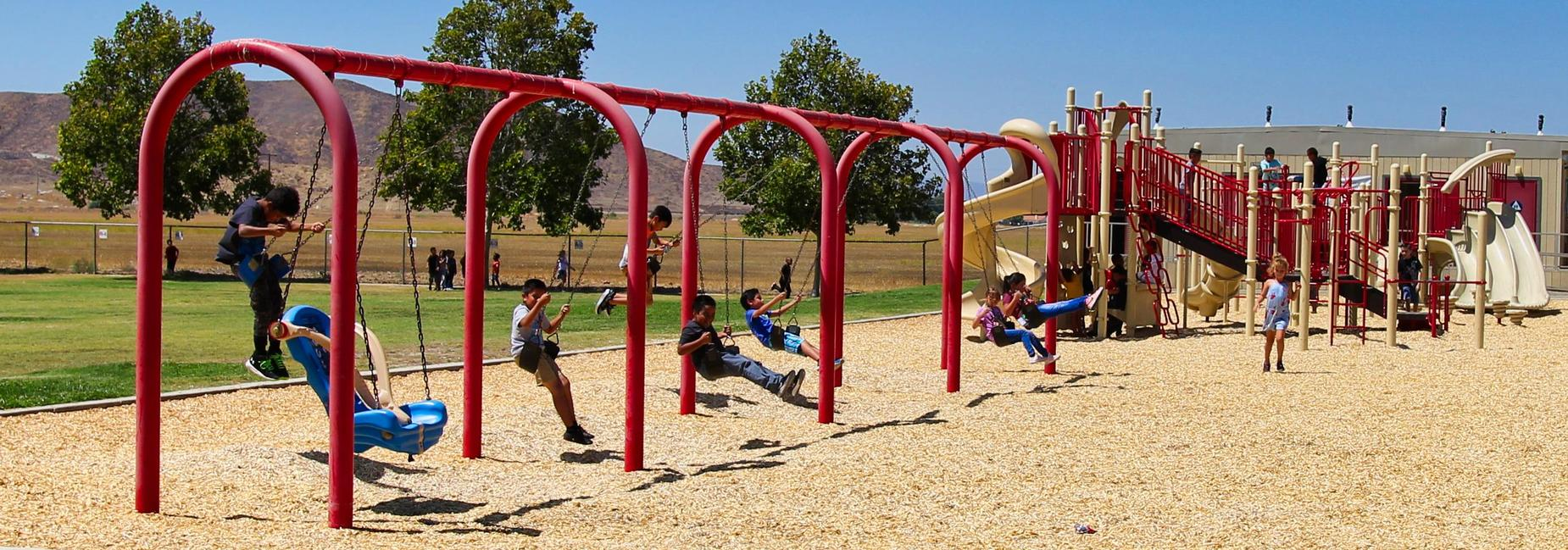 Kids playing on the playground