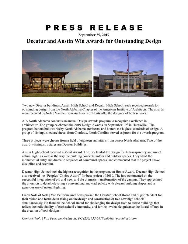 Decatur and Austin Win Awards for Outstanding Design Featured Photo