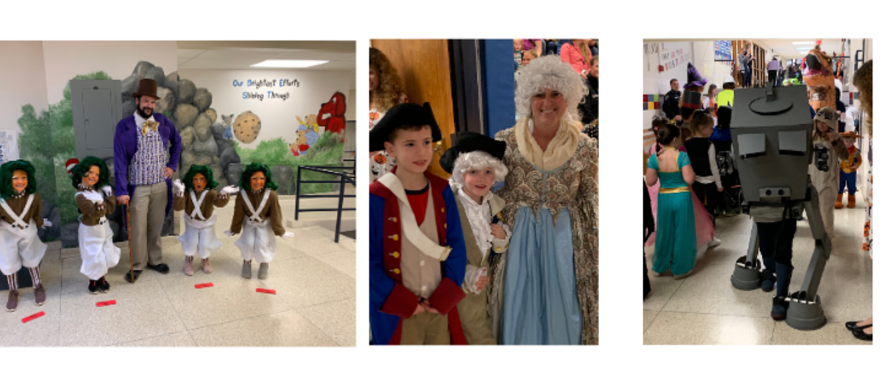 students and teachers in costumes