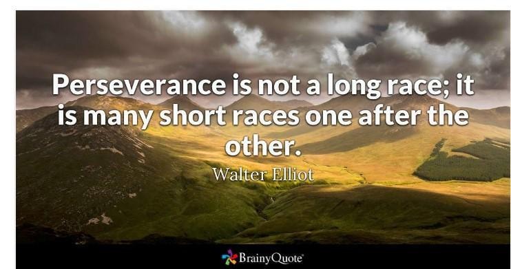 'Perseverance is not a long race: it is many short races one after the other.' -Walter Elliot