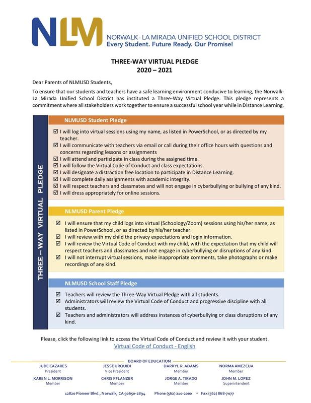 Virtual Three-Way Pledge and Virtual Code of Conduct (click for Spanish) Featured Photo
