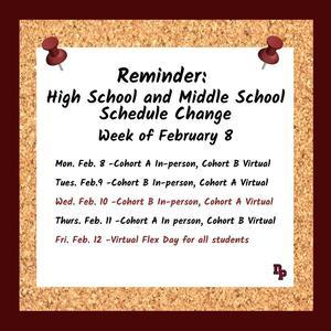 schedule change week of Feb 8