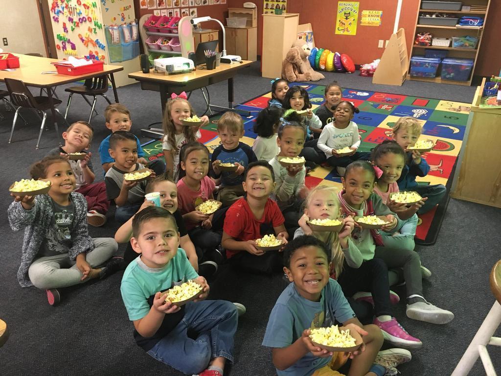 TK Students enjoying popcorn