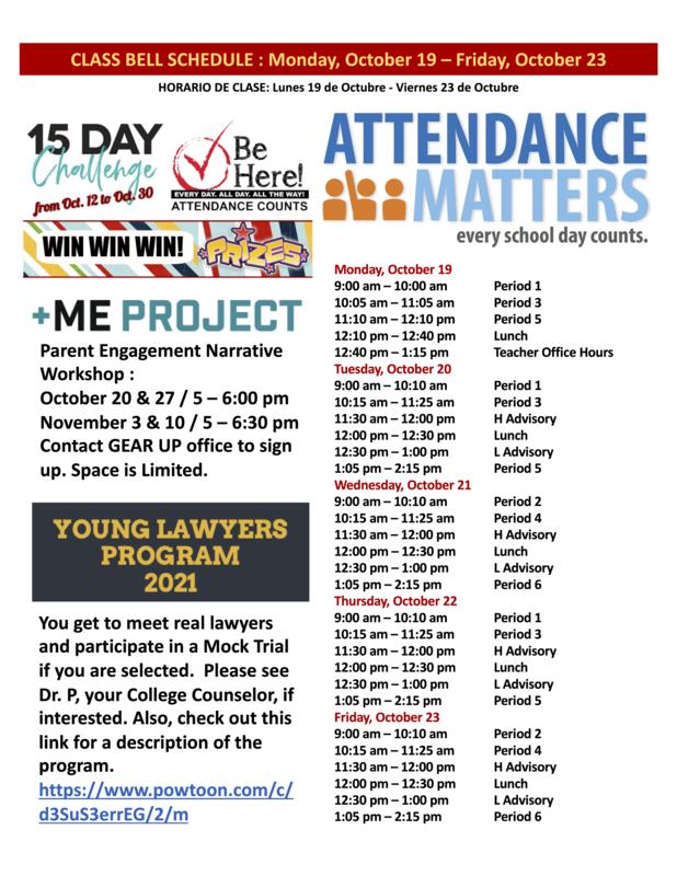 Class Bell Schedule : October 19 - 23, 2020 Featured Photo