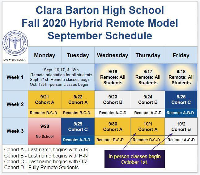 September 2020 Hybrid Schedule