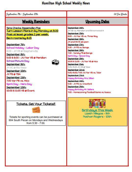 Sept 5 - September 12 Weekly Reminders Thumbnail Image