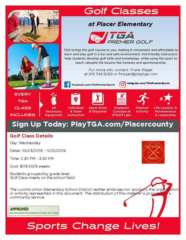 Informative flyer w/ pics of golfers