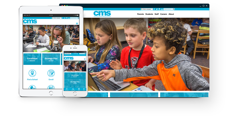 Charlotte-Mecklenburg's website on different devices