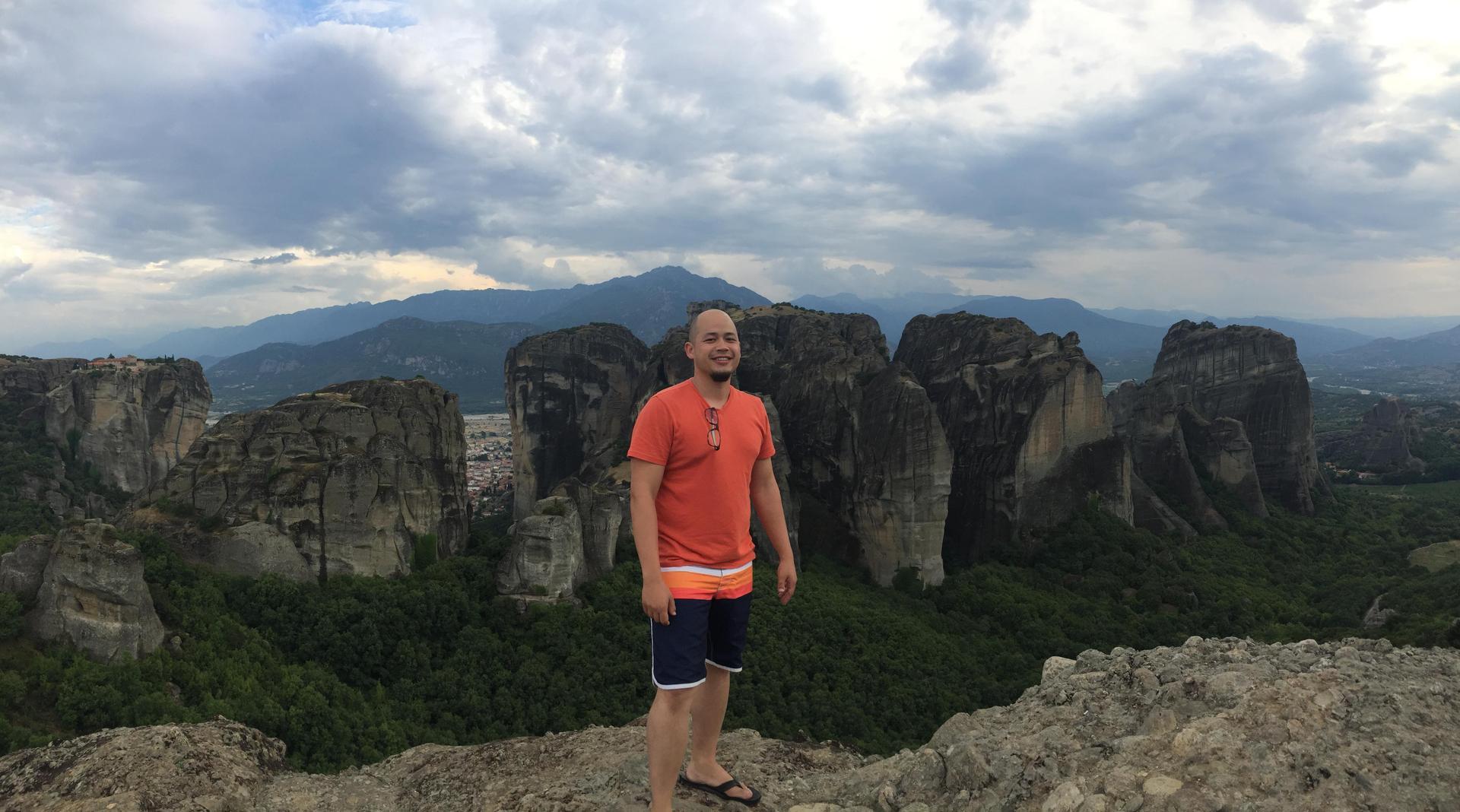 Mr. Palmer in Meteora, Greece