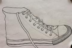 pencil drawing of a tennis shoe, by a high school student