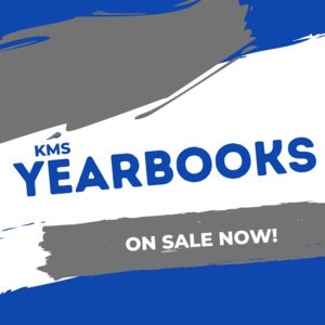 blue and white graphic reads kms yearbooks on sale now