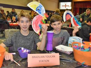 Students at the craft table