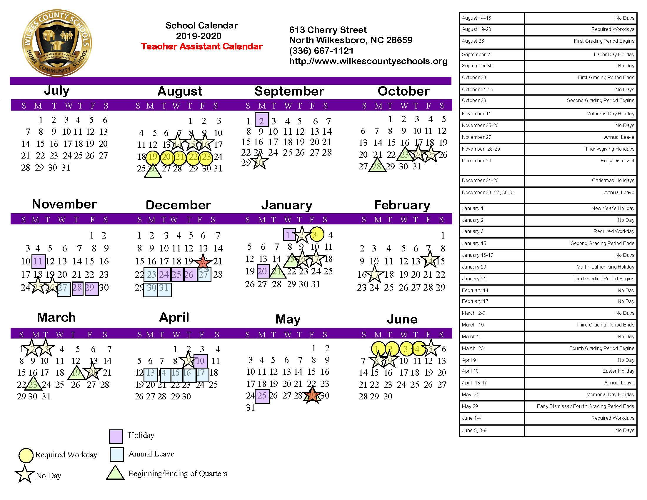 Calendario 2918.District Calendars District Wilkes County Schools