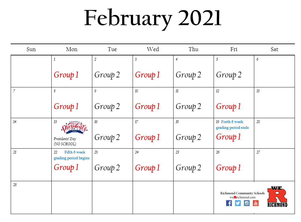 February 2021 Hybrid Calendar