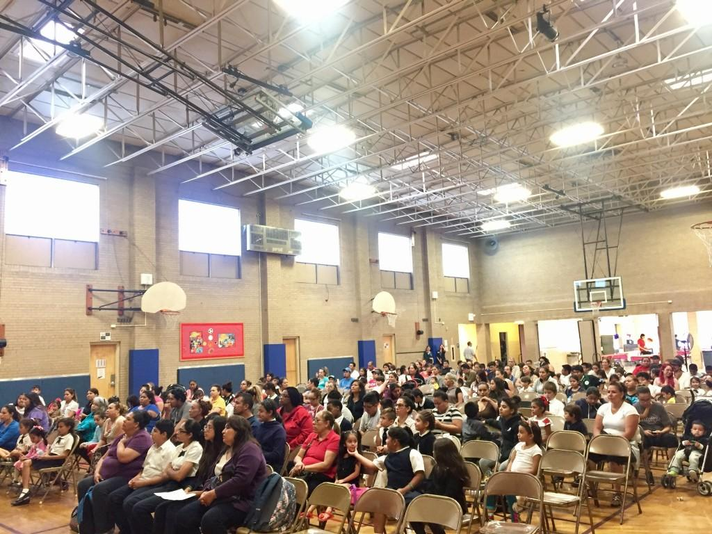 Families in the gym for Back to school Night