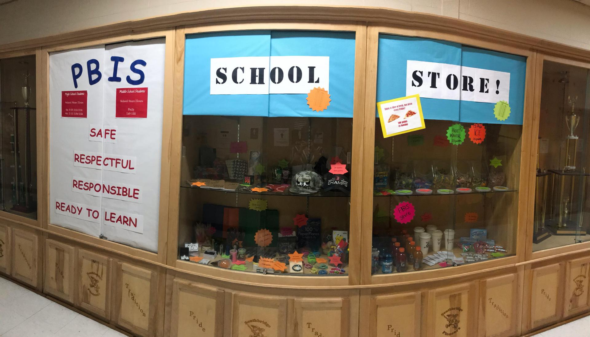 Photo of the display at the Southbridge Academy PBIS school store