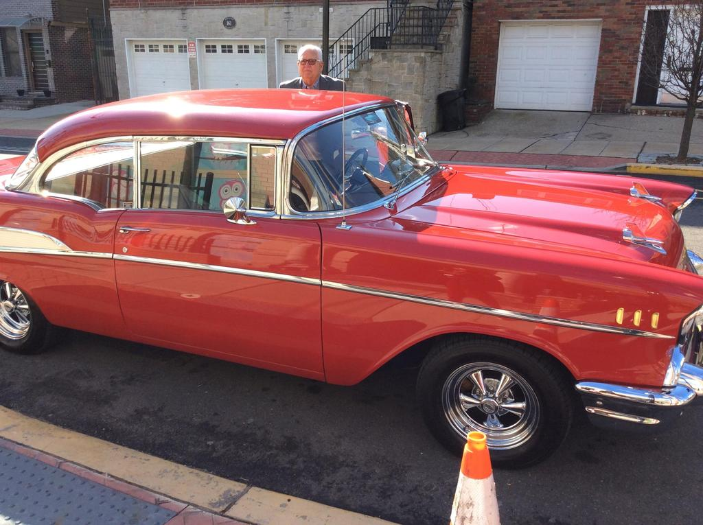 1957 Red Chevy and owner