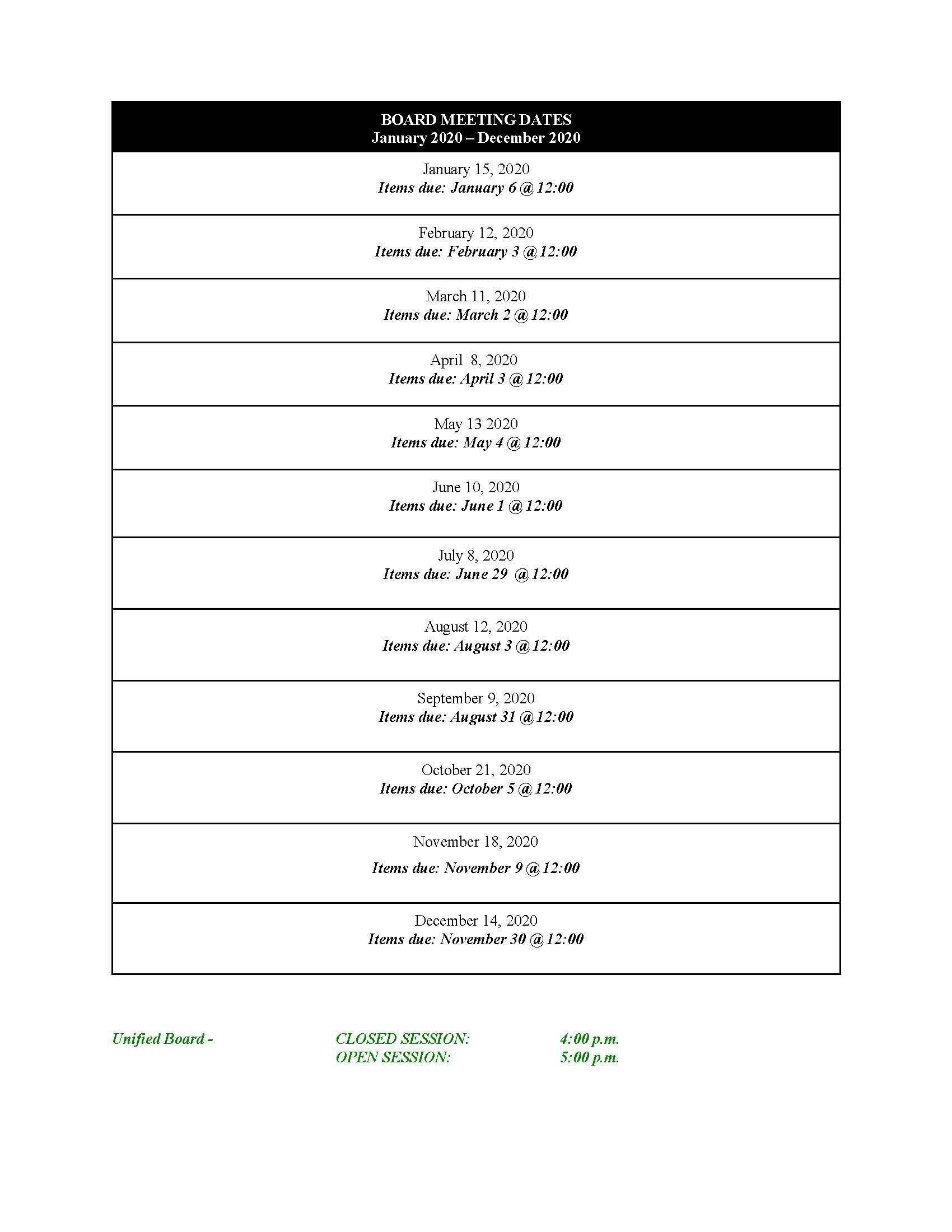 EUSD School Board Meeting Dates 2019-2020