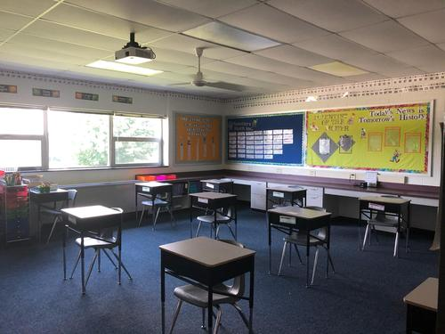 A picture of our classroom that is ready for students to arrive on Monday!