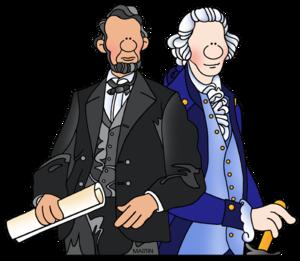 Cartoon drawing of Presidents Lincoln & Washington