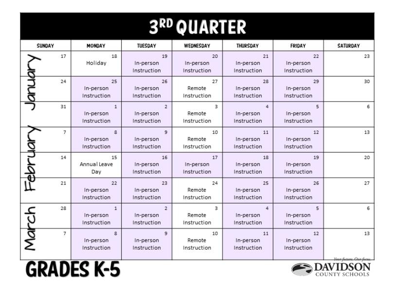 Elementary 3rd Quarter Calendar