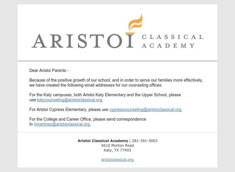 Counseling Contacts for Aristoi Families Featured Photo