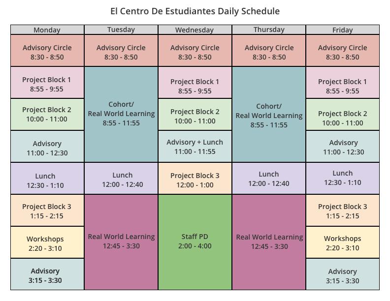 2019-2020 El Centro Schedule