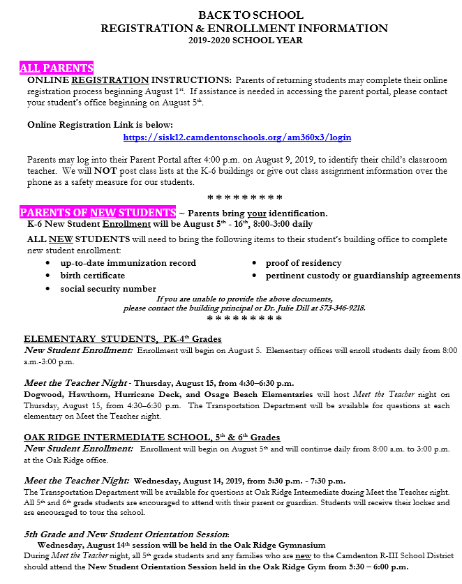 enrollment info