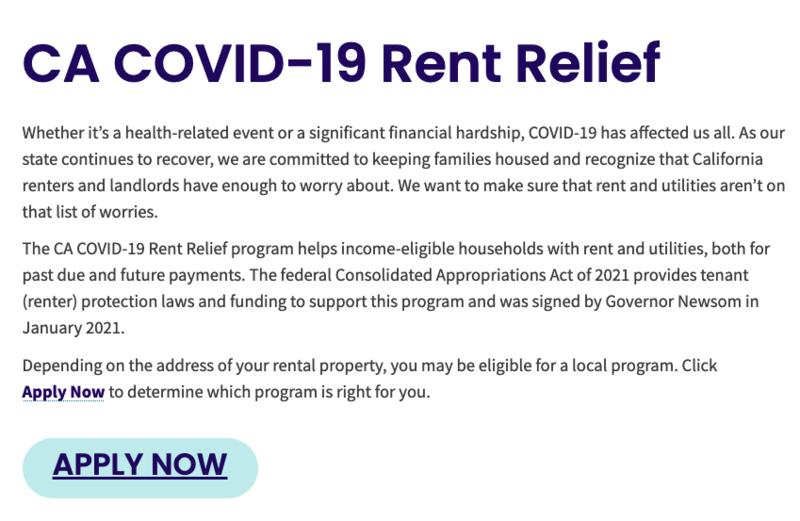 CA COVID-19 Rent Relief // El programa CA COVID-19 Rent Relief Thumbnail Image