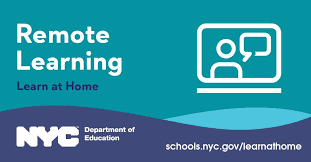 NYC Department of Education blue and green Remote Learning Icon with a computer and a student.