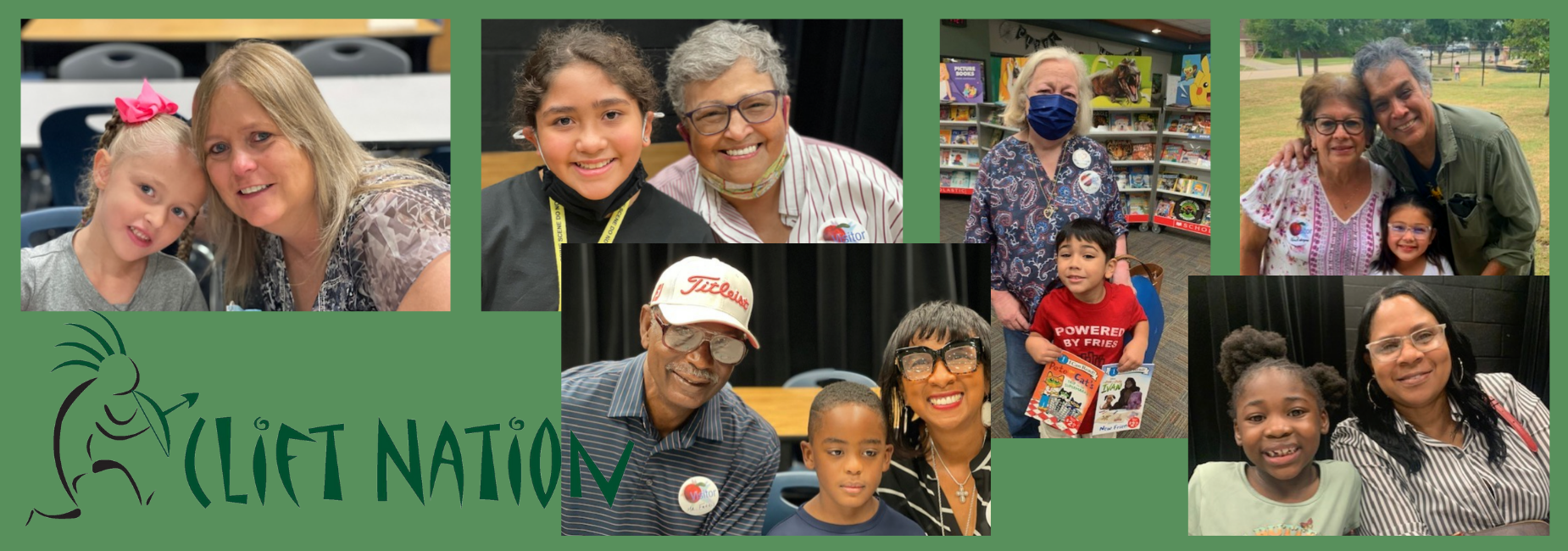 collage of young students with their grandparents at school