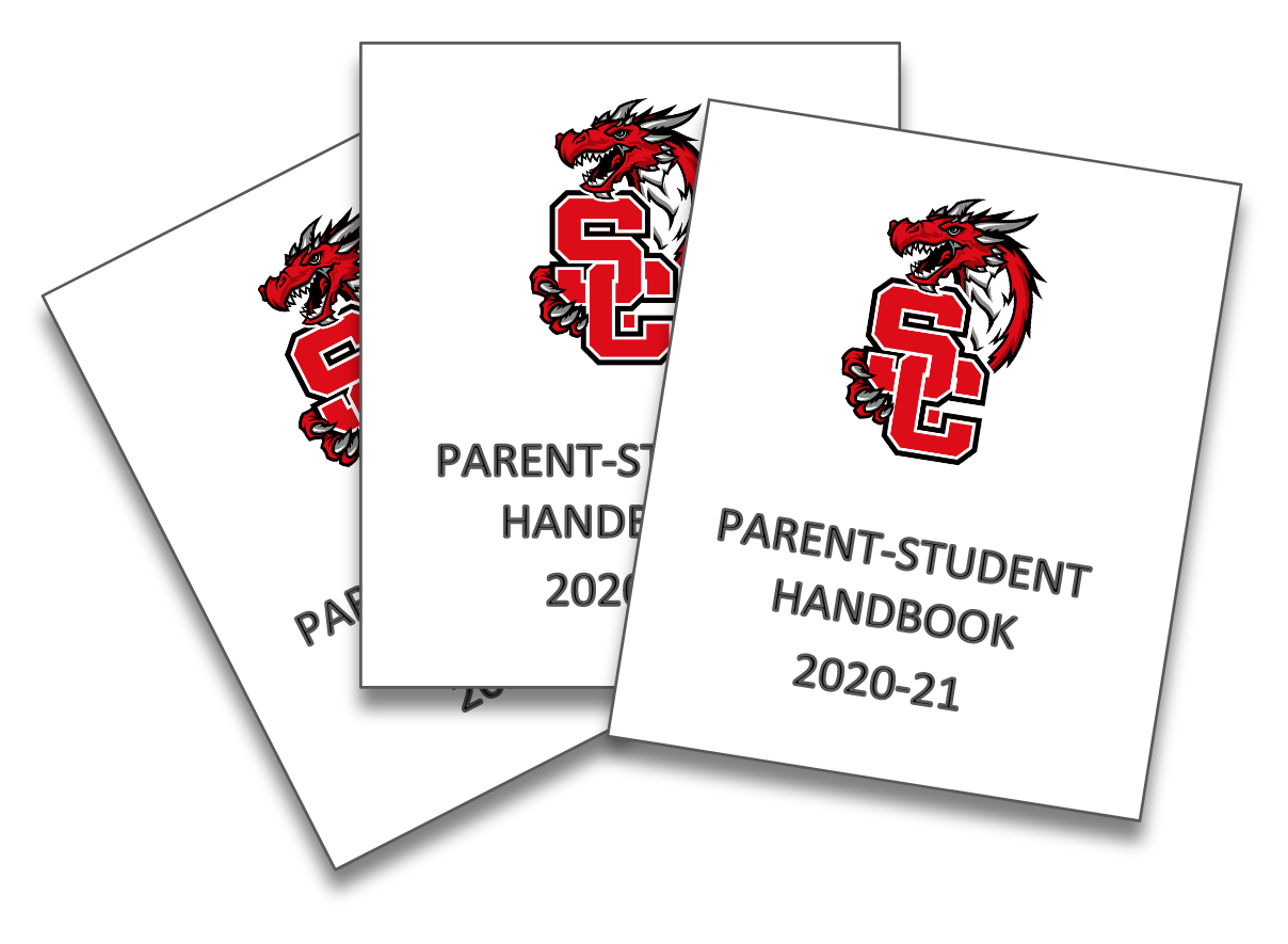 Three Parent-Student Handbooks overlapping upon each other.