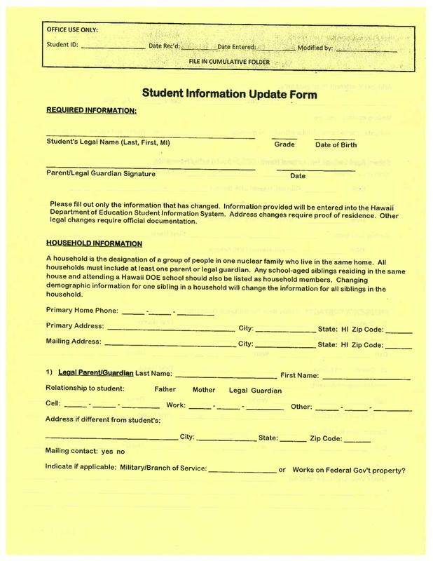 YOUR KOKUA NEEDED: Student Information Update Form Featured Photo