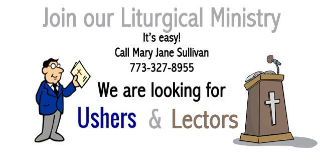 Ushers, Lectors and Eucharistic Ministers needed at noon Masses! Featured Photo