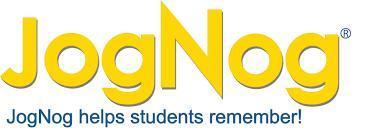 JogNog text logo, yellow letters