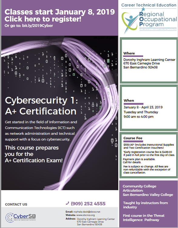 Cybersecurity 1: A+ Certification classes start January 8, 2019 Thumbnail Image