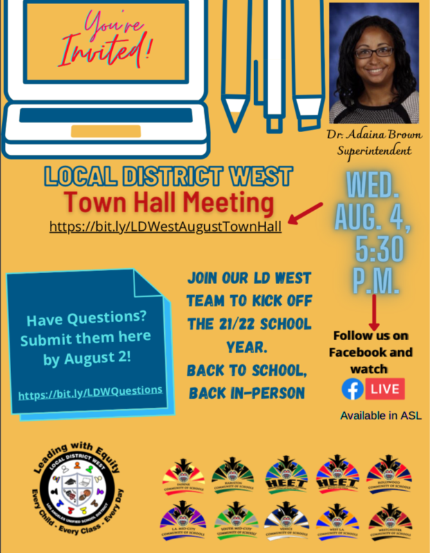 Local District West Town Hall Meeting Aug 4, 2021 5:30pm Featured Photo