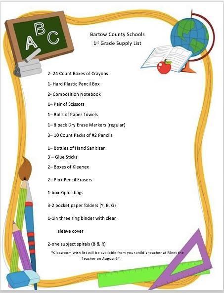1st grade supply list