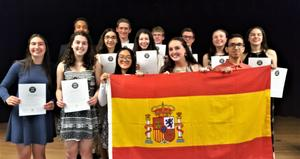 Photo of Westfield High School inductees into National Spanish Honor Society.