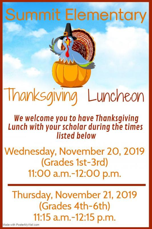 Summit Elementary Thanksgiving Luncheon 2019  #ItsComeBackTime
