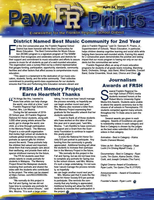PawPrints 4.24.20 newletter