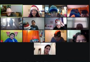 Ms. Journett's zoom class wearing hats