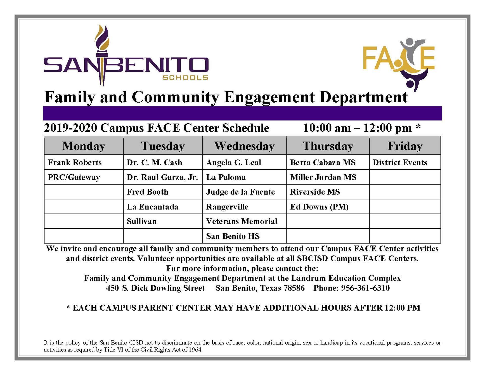 2019-2020 FACE Center Schedule