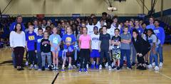 The WSISD Education Foundation's Basketball Shootout contestants are pictured with the 2017-2018 Lady Bear and Brewer Bear varsity team members. Hannah Lelek from the Fine Arts Academy won the competition.