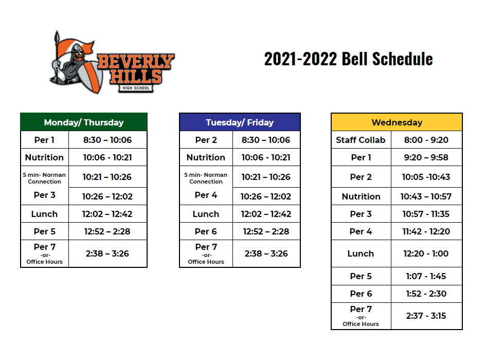 BHHS Bell Schedule 2021-2022