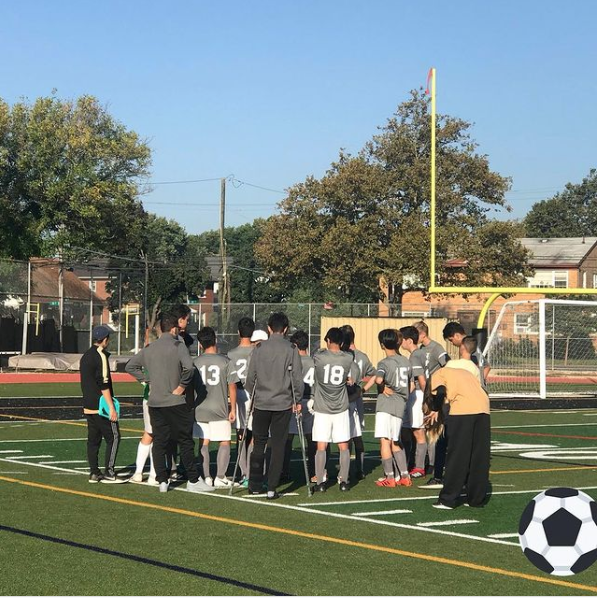 Picture of MSIT Boys Varsity Soccer team ready to play on the field