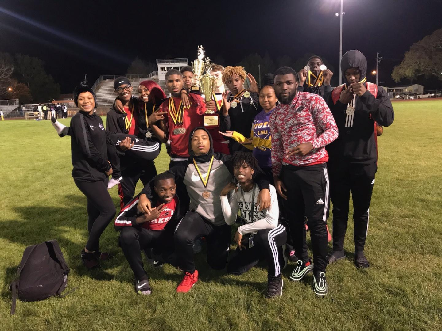 Photo of BHS Boys Track Team Trophy after win at Melvin Stringer Relays