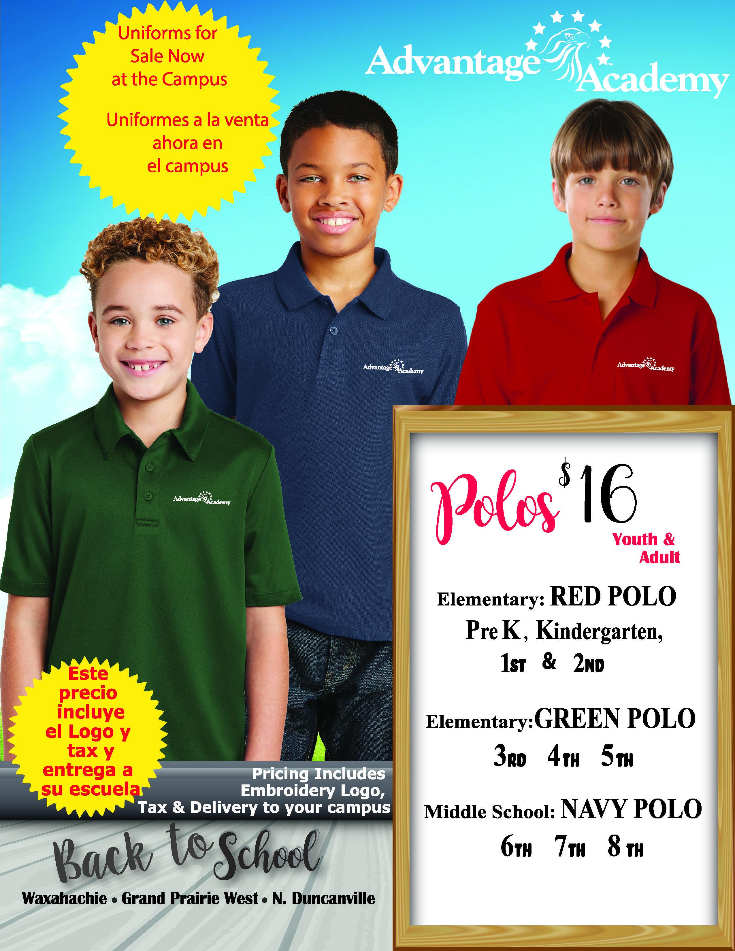 Advantage Academy dress code polo shirts
