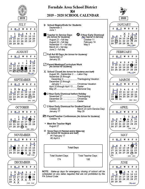 2019 -2020 K4 School Calendar